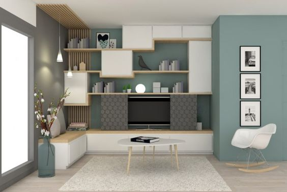 pour le meuble tv penser aux am nagements int grer dans le mur boulogne sejour pinterest. Black Bedroom Furniture Sets. Home Design Ideas