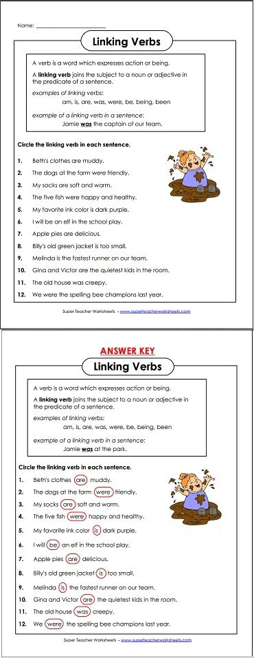 Linking Verbs Sentences And Circles On Pinterest