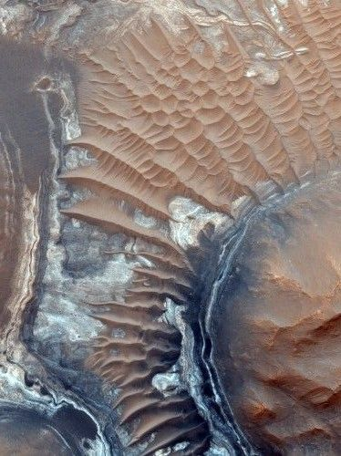 NASA found evidence that briny water flows on Mars, raising chances that life could exist on the Red Planet.  (Old news but cool view.)