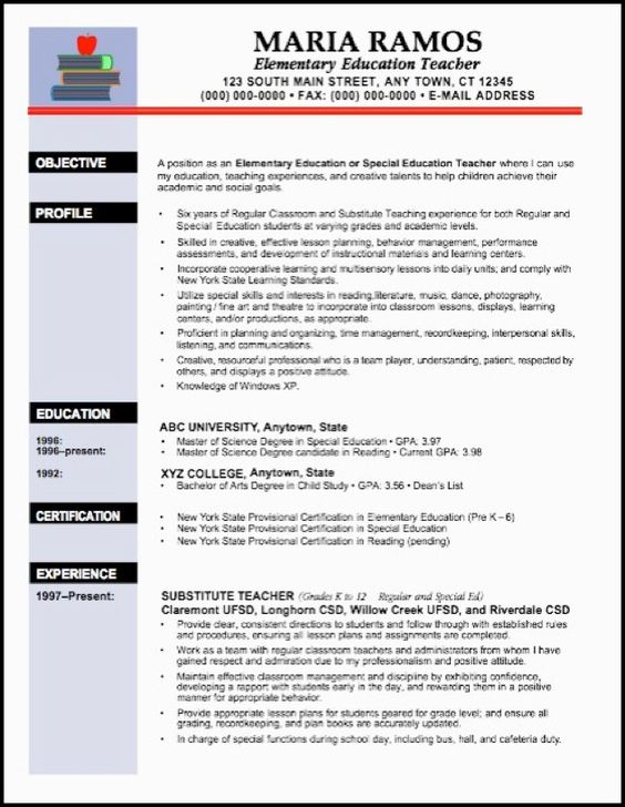 Teacher resumes, Resume and Resume examples on Pinterest