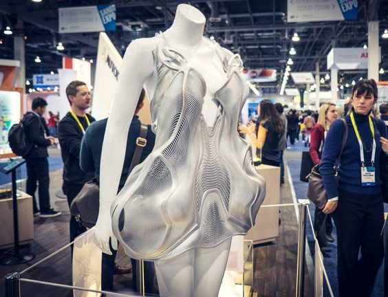 3D printing continued to extend its presence on the CES show floor, including this organic form dress at the Autodesk booth.