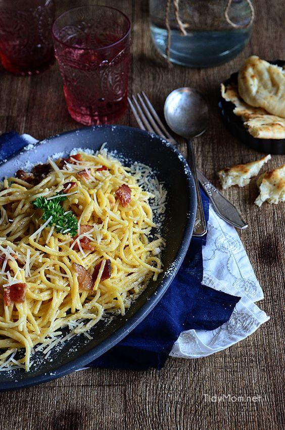 Easy Bacon Carbonara recipe at TidyMom.net