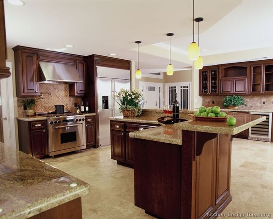 L shaped island with 2 tiers kitchen pinterest l for Beautiful l shaped kitchens