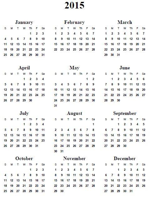 print yearly calendar 2015 - zrom