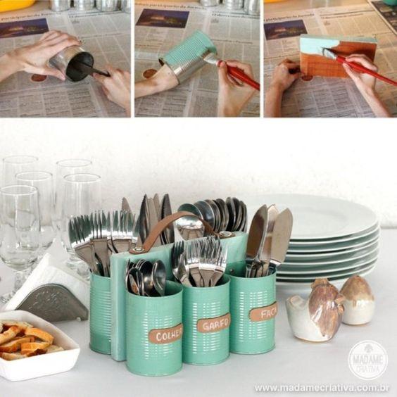 porta cubiertos lapices latas DIY muy ingenioso 1