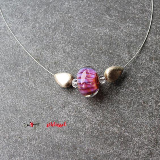 Herzschlüssel: Pink, lampwork, Glasperlen, glass beads, #DIY