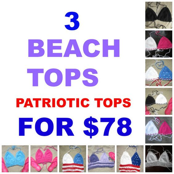 Hey, I found this really awesome Etsy listing at https://www.etsy.com/listing/191476084/pick-3-halter-tops-patriotic-top-crochet