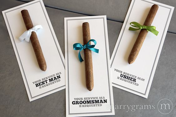 Marrygrams makes beautiful wedding paper products! Your Service is Requested Groomsman Cigar Card #marrygrams