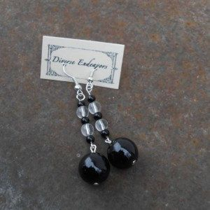 Round Black and Clear Glass Earrings by DEJewelryandGifts on Etsy $10.00