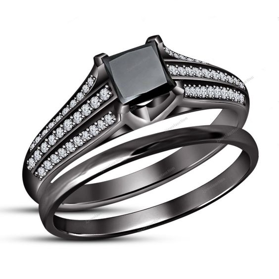 2.00CT Princess Diamond Tapered Shank Bridal Ring Set With 14k Black Gold Finish…