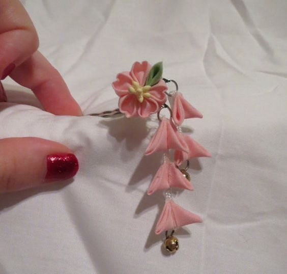Delicate pink cherry blossom bobby pin
