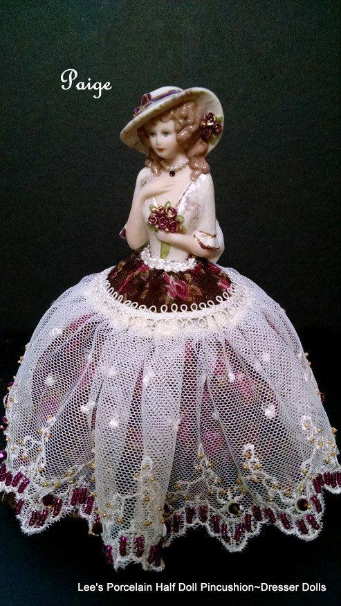 Porcelain half doll pincushion dresser by LeesVintageTreasures