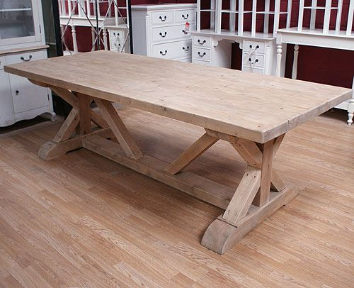 Rustic Cross Leg Heavy Dining Table Dining Room Table Decor French Furniture Bedroom Dining Table
