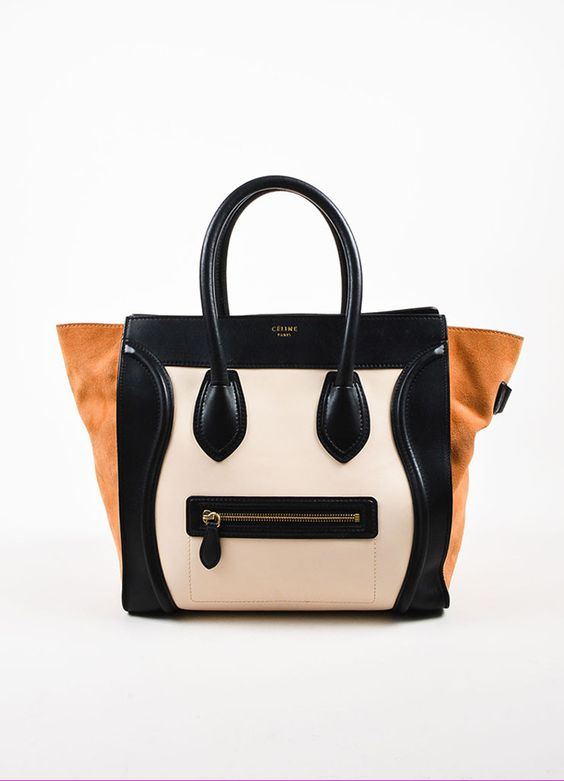 """Celine Black, Tan, and Beige Leather and Suede Winged """"Mini Luggage Tote"""" Handbag"""