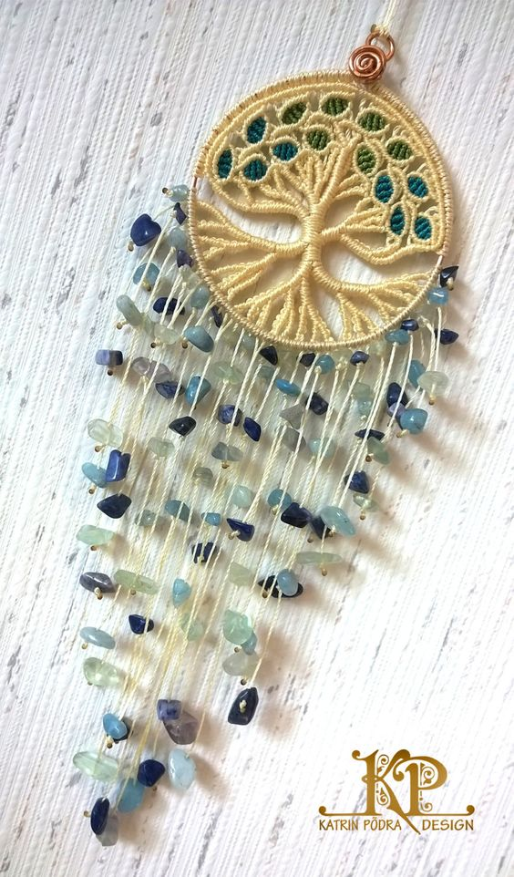 Micro macrame charm Tree of life amulet for the by KatrinPodra
