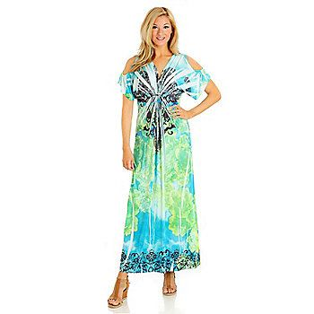 World Micro Jersey Short Sleeved Cold Shoulder Printed Maxi Dress