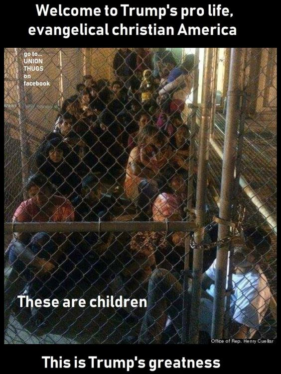 JESUS! What the hell has happened to Our Country....What's happened to us as Americans....What's happened to us that we stand by and watch a Horrible Human Being Destroy Everything we hold Dear as a Nation. This is wrong on every level and we All should be Ashamed. *American Concentration Camps For Children*