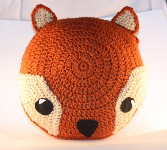 Rusty Orange Fox Pillow - Crochet - Woodland Creature. $30.00, via Etsy.