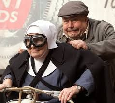 Call the Midwife - Fred receives scooter lessons from Sister Evangeline.  Better hold on Fred!