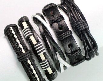 5 pieza cuero hecho a mano pulsera Set para por BraceletStreetUSA