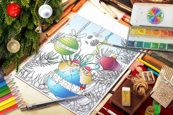 Colouring Page  Christmas Tree Mice  White by ColouringandTangling