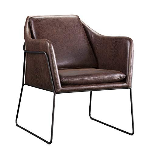 Brown Faux Leather Accent Chair With Images Leather Accent Chair Cheap Leather Chairs Leather Side Chair