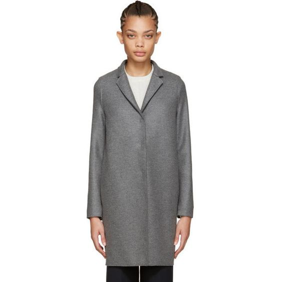 Harris Wharf London Grey Wool Cocoon Coat ($220) ❤ liked on Polyvore featuring outerwear, coats, grey, woolen coat, gray wool coat, grey wool coat, collar coat and cocoon coat