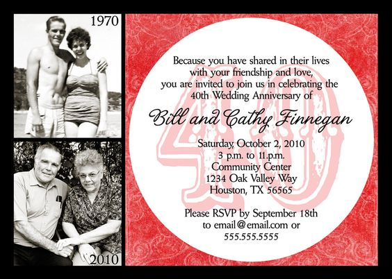 Surprise Wedding Anniversary Invitations: Ruby Red Wedding Anniversary