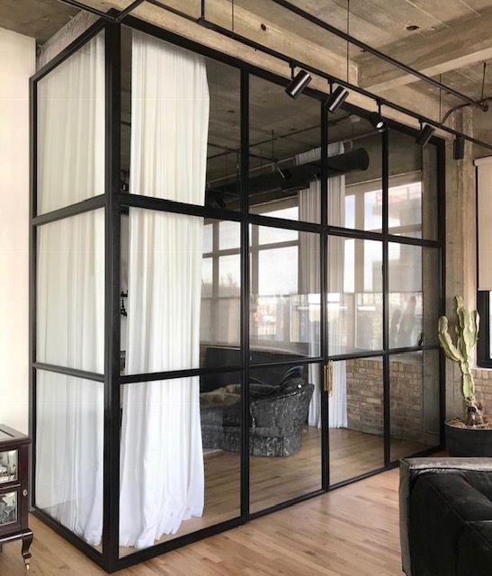 Jen Talbot Design Steel Glass Wall Chicago Interior Designer Minimalist Home Interior Glass Doors Interior Industrial Home Design