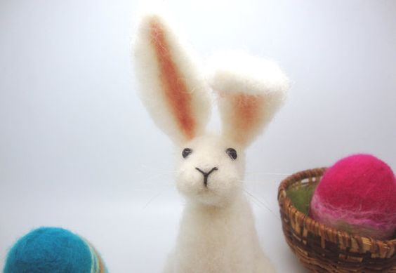 i love the characters created by this textile felt artist they would all make great mothers day or easter gifts for anyone and are so cheap for the work put into them a little bundle of love Needle Felted Animal  Needle felted Hare Easter by madamecraig