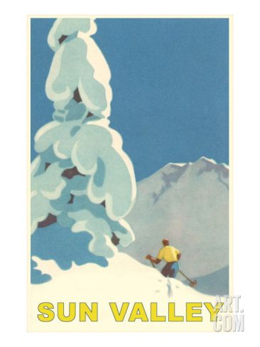 Skiiing in Sun Valley, Idaho Giclee Print at Art.com