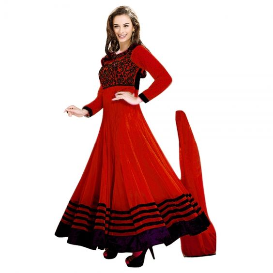 Buy Red Semi Stitched Net Anarkali Salwar Suit Online at cheap ...