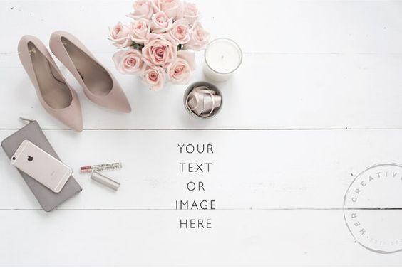 Styled Desktop  Nude Heels Blush Roses and Desk от HerCreativeShop