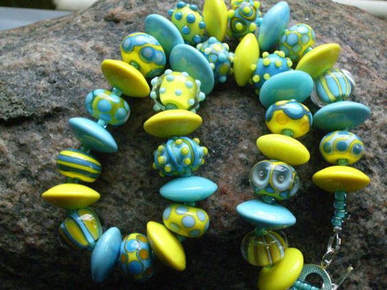 SRA HANDMADE LAMPWORK Bright and Bold Glass Bead Necklace - Sun City-Part 2