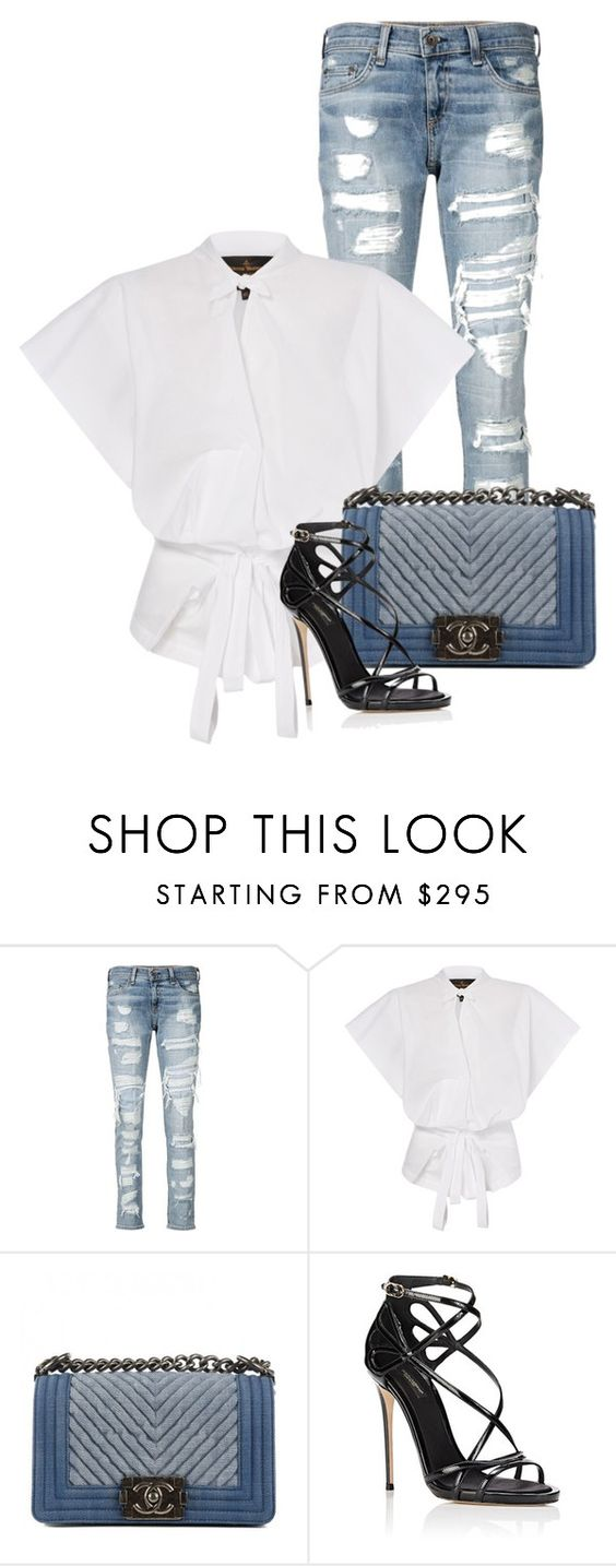 """""""Untitled #2158"""" by monique-d ❤ liked on Polyvore featuring rag & bone/JEAN, Chanel and Dolce&Gabbana"""