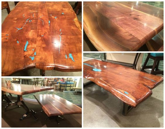 Rough hewn slab dining tables from LVNV Mkt, photos courtesy of Gallery Furniture.