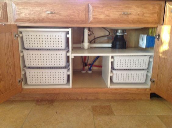 Under Kitchen Sink Organization My Husband Built For