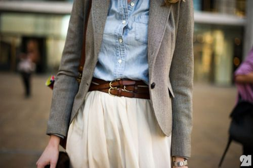 .: Chambray Shirts, Street Style, Denim Shirts, Work Outfit, Clothes Style Outfits, Blazer Chambray