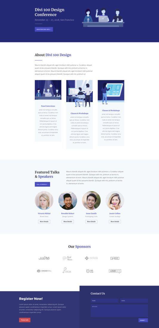 Design Conference Landing Page In 2020 Conference Design Simple Website Design Web Design Inspiration