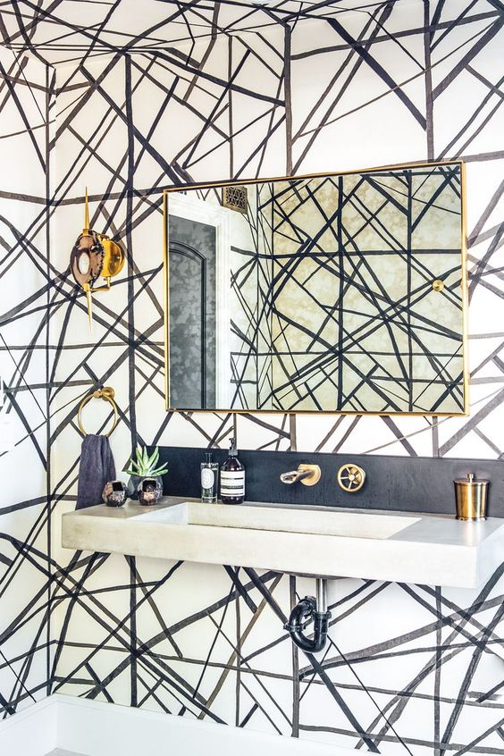 Channels Wallpaper | Powder Room
