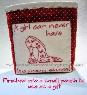 Happiness is Cross Stitching : Friday Freebie - Cross stitch shoe and Stitchery plus gift tags!
