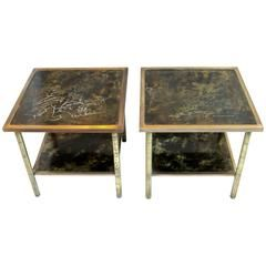 """Rare Etched Brass Kelvin & Philip LaVerne Two-Tier End Tables """"Muses"""" circa 1970"""