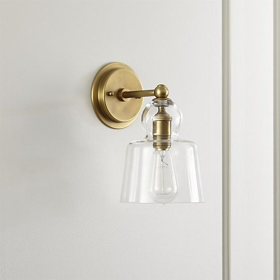 Candle Wall Sconces For Fireplace : Lander Brass Sconce - Crate and Barrel Powder, Crate and barrel and Bath powder