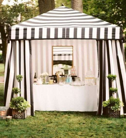 Bar under striped tent - cocktail hour. pink/white striped or hunter green/white