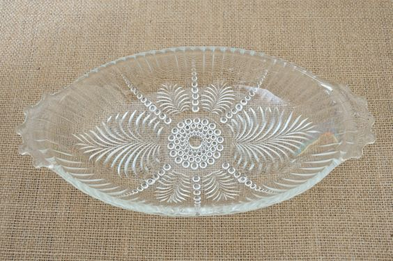 Depression Glass Oval Dish - Gorgeous Design - Jeanette by MyAffordableVintage on Etsy