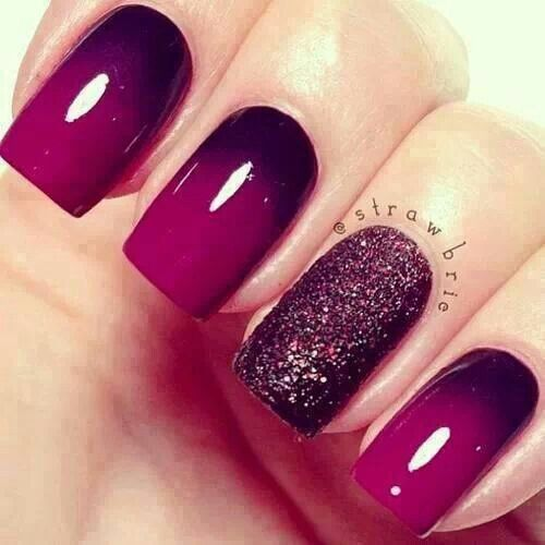 Plum or purple or fushia, idk what these colors are but I love these nails: