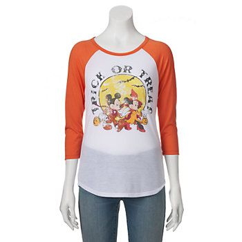 "Disney's Juniors' Mickey & Minnie Mouse ""Trick Or Treat"" Halloween Baseball Graphic Tee"