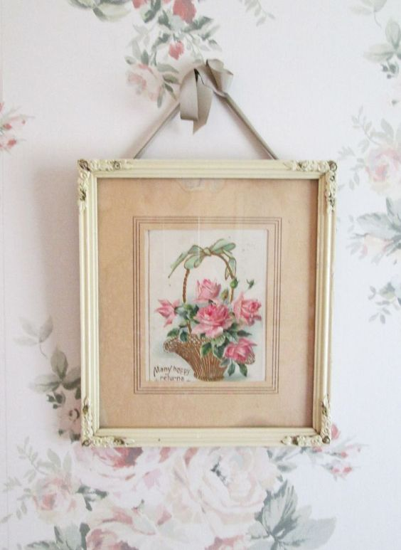 hang pretty pictures with pretty ribbons