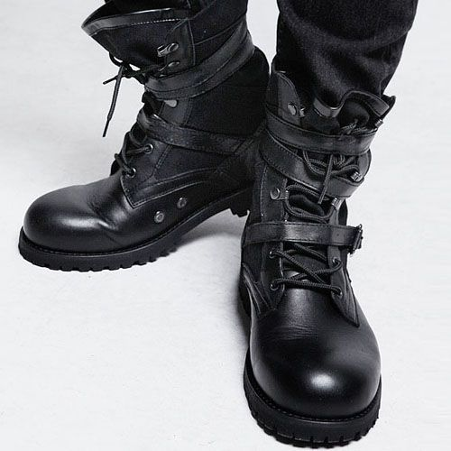 Mens Triple Sexy Belted Badass Tactical Inspired Fashion Boots By