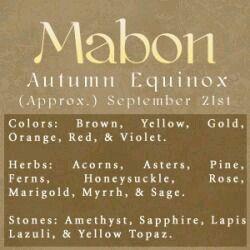 Sabbats- Wiccan & Pagans celebrate Mabon: